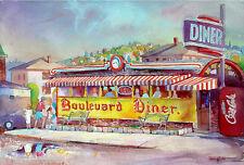 Worcester BOULEVARD DINER Bob Aiello 11x14 Giclee Art Print