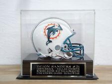 Football Mini Helmet Display Case With A Deion Sanders Dallas Cowboys Nameplate