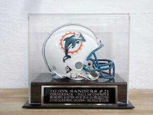 Deion Sanders Football Mini Helmet Display Case W/ A Dallas Cowboys Nameplate
