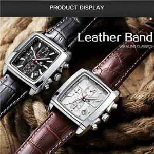MEGIR Causal Men Quartz Leather Watch Chronograph Square Luminous Wristwatch