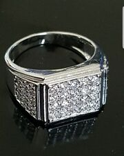 18K White Gold Plated Iced Out Hip Hop Championship MICROPAVE CZ Pinky Mens Ring