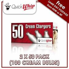 QuickWhip 8g N20 Bulbs - 50 PACK X2 (100 CREAM CHARGERS) Pure Nitrous Oxide