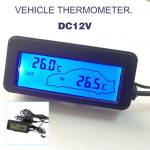 12V Car Thermometer LCD Digital Display Inside Outside Temperature Temp Meter