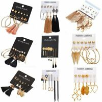 6Pairs/set Fashion Crystal Tassel Dangle Earrings Ear Stud Hook Women Jewelry