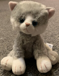 Misty Russ Berrie Plush Toy Cat Kitten Grey And White Blue Eyes