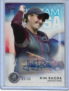 RARE 2016 TOPPS OLYMPIC KIM RHODE SILVER AUTOGRAPH AUTO /30 CARD ~ USA SHOOTING