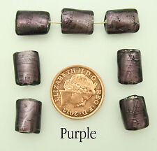 20 Purple/Rose Twisted Glass Beads With Silver Foil Inlay Jewellery Making 12mm
