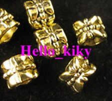 80 pcs Antiqued gold plt floral omate tube beads A257