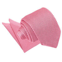 Strawberry Pink Mens Slim Tie Hanky Set Knit Knitted FREE Pocket Square by DQT