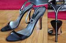New Manolo Blahnik  sz 39 / US 9 Black crystal buckle ankle strap shoes sandals