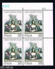 ITALIA 1 QUARTINA CARLO GOLDINI COMMEDIOGRAFO MEZZETTINO 1993 nuovo**