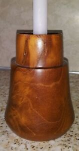 Mid Century Modern Teak Wood Candle Holder by Dolphin Made in Thailand Vtg MCM