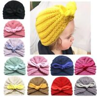 Baby Kids Girls Cute Adorable Bowknot Hat Knitted Wool Turban Toddler Headwraps