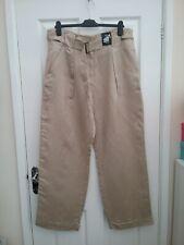 M & S Collection Ladies Golden Stone Wide Leg Linen Blend Trousers Size 16 Reg B