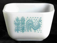 Antique Vintage Mid Century Modern Glass Pyrex Blue Rooster Corn White Bowl Sq