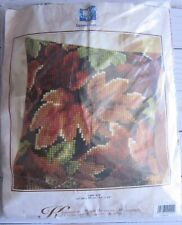 Fall Leaves Vervaco Needlepoint Pillow Kit Quick Stitch 16x16 NIP Vintage