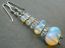 Moonstones with Vintage & Swarovski Crystals & 925 Sterling Silver Drop Earrings