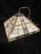 """TIFFANY STYLE STAINED GLASS  LAMP SHADE -- SQUARE -- 14"""" X 14"""" X 9"""" Mission"""