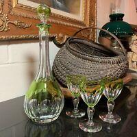 "Val St Lambert Peridot Green 13 1/4"" Decanter 3 Paul I Tcpl 4 7/8"" Wine Glasses"