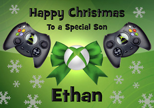 Xbox personalised A5 Christmas card Son brother Grandson Nephew Dad Uncle Name