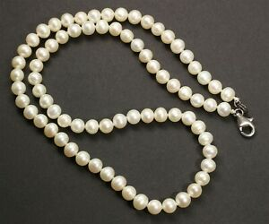 Sterling Silver Hand Knotted Small Cultured Freshwater Baroque Pearl Necklace