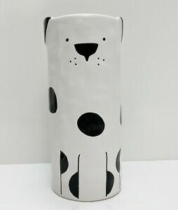 """Ikea FÅTALIG FATALIG Unique Vase, Ceramic Off-White/Black 5 ¾"""", Dog - NEW"""