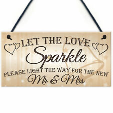 Let The Love Sparkle Cute Hanging Wedding Day Decoration Plaque New Mr Mrs Sign