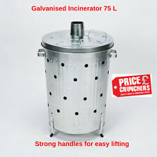 CrazyGadget 75l Galvanised Incinerator Fire Bin Garden Paper Rubbish Leaves Burner Shovel