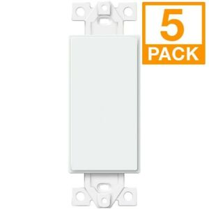 ENERLITES 1 Gang Blank Decorator Wall Plate Insert For Outlet / Switch 5 Pack