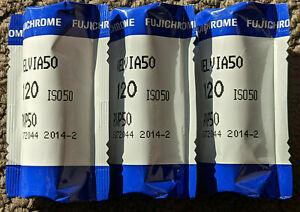 3 rolls of 120 Fujifilm Velvia 50 Feb. 2014 expiry medium format film sealed