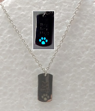 Live Love Adopt GLOW IN THE DARK Paw Print Pet Rescue Dog Cat Pendant Necklace