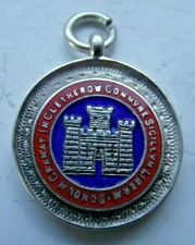 CHESTER 1925 STERLING SILVER HALLMARKED POCKET WATCH FOB MEDAL ENAMEL OBSTACLE