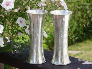 C1910 Pair Chinese Export Silver Vases  Nicely Engraved Hallmarked