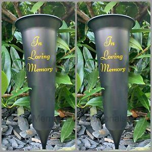 2 X Black In Loving Memory - Memorial Plastic Flower Vase Grave Crem Spike Vase