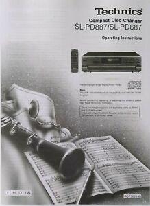 Technics SL-PD887 - SL-PD687 CD Player Changer -  Instructions - USER MANUAL