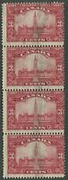 CANADA #143 USED STRIP OF 4 MISS-PERF
