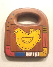 Vintage Folk Art Wooden Wall Hanging Trivet