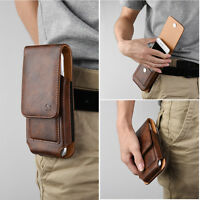 For Motorola Phones Vertical Quality Brown Leather Pouch Belt Clip Holster Case
