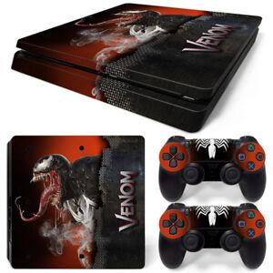 PS4 Slim Playstation 4 Console Skin Decal Sticker Venom Movie Custom Design Set