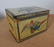 Antique Edwardian Tin With Macaws Decoration 15cm x11cm x10cm