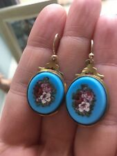 superb antique Victorian turquoise micromosaic flower gold earrings