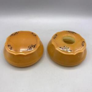 Vintage Amber Puratin Dubarry Powder Puff Plastic Box Packaging