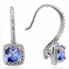 TANZANITE AAA  & DIAMOND  EARRINGS 1.91 CWT  SILVER  WHITE GOLD LOOK GENUINE