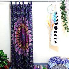 Peacock Mandala Wall Drapes Pink Feather Hippie Cotton Boho Window Door Curtains