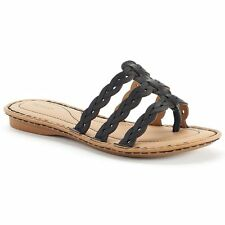 SONOMA Women's Braided Thong Sandals, Black, Size 7 M, FREE S&H, New in Box, $45