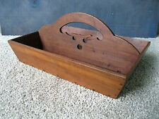 Antique Knife Box Cutlery Tray Vtg Primitive Country Figured Cherry Wood Tote