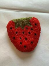 Beaded Strawberry Coin Purse Zippered Top
