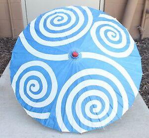 "32"" Paper Parasol Sky Blue Spiral Pattern Japanese Style Umbrella w/ Wood Handle"