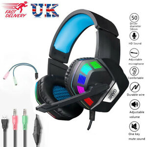 Gaming Headset Wired Headphones LED with Mic For Xbox one PS4 PC Nintendo Switch