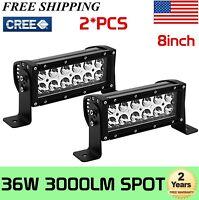 "2x 8""inch 36W Spot CREE LED Work Light Bar Driving Offroad Lamp  4WD Truck 72W"
